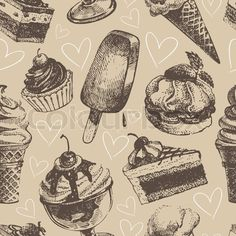 Seamless pattern with ice cream and cakes stock vector