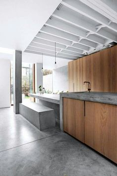 I found this 5 bedroom West London terrace home on Shoot Factory and was instantly intrigued. The house has recently been extended to include a super sleek concrete inspired kitchen and dining space. Concrete Kitchen, Concrete Wood, Concrete Floors, Kitchen Flooring, Concrete Bedroom Floor, Concrete Bar Top, Concrete Counter, Kitchen Wood, Grey Flooring