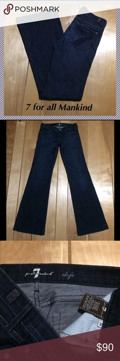 """7 for all Mankind Dojo jeans size 26 x 33.5"""" 7 for all mankind Dojo wide leg flares • 33.5"""" inseam, 7.75"""" rise, 14.5"""" across waist, 21.5"""" leg opening • 98% cotton and 2% spandex • Excellent condition!! 7 For All Mankind Jeans Flare & Wide Leg"""