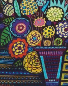 Modern Cross Stitch Kit By Heather Galler ' Modern Flowers' - Folk Art CrossStitch Kit