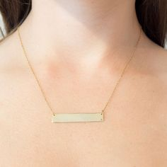 Put a name on it! Margaux Bijoux's Diamond engraveable name bar pendant is the perfect stacking piece. Customized name engraving ensures for a personalized accessory.