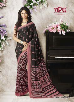 New Designer Printed Indian Pakistani Ethnic Bollywood Crepe Silk Saree Sari Katan Saree, Crepe Silk Sarees, Indian Outfits, Indian Clothes, Casual Saree, Fashion Forever, Saree Collection, Printed Blouse, Black Print