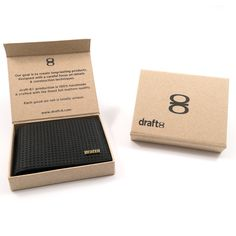 square black leather wallet packaging