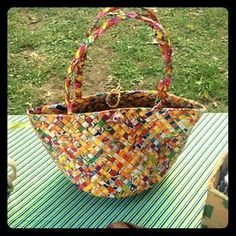 I just discovered this while shopping on Poshmark: Recycled juicebox basket bag. Check it out!  Size: O