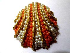 Vintage Clam Shell Gorgeous Orange and Faux Seed Pearl Pin Brooch Signed Benedikt New York Beach Vacation Summer Gift