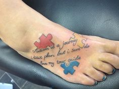 """""""Autism is a journey I didn't plan but I sure do love my tour guide."""" This just made me tear up ! Must have TaT ! Mother Tattoos, Mom Tattoos, Future Tattoos, Body Art Tattoos, Tattoos For Guys, Tatoos, Autism Awareness Tattoo, Autism Tattoos, Tattoo Uk"""