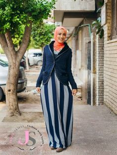 striped maxi skirt winter hijab, Winter hijab fashion from Egypt http://www.justtrendygirls.com/winter-hijab-fashion-from-egypt/