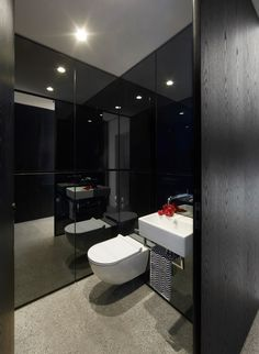 Chapple Residence in Forest Lodge, Australia by Smart Design Studio Mirror Panel Wall, Black Wall Mirror, Wooden Bathroom, Brown Bathroom, Intelligent Design, Design Studio, Sydney, Les Transformations, Home Interior