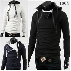 New Black Men Fashion | South Korean Men's Hoodies Jacket Sweatshirt Zippered Light grey/Black ...