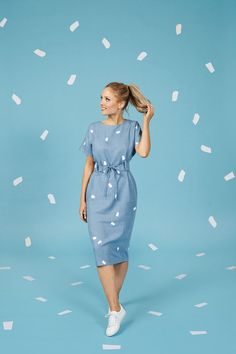 Suki dress sewing pattern - Make It Simple - Tilly and the Buttons Maternity Patterns, Tilly And The Buttons, Dress Making Patterns, Dress Out, Easy Sewing Projects, Sewing Tutorials, Sewing Ideas, Striped Fabrics, Couture