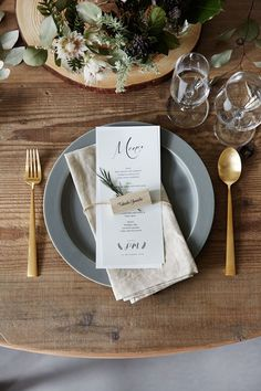 Shine's guide to using stationery to style your reception and how to tie it back to your invitations. Wedding Menu, Wedding Paper, Rustic Wedding, Wedding Reception, Reception Table, Dinner Table, Wedding Designs, Wedding Styles, Wedding Place Settings