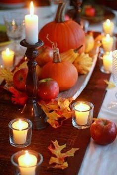 centro mesa otoño, calabazas y manzanas