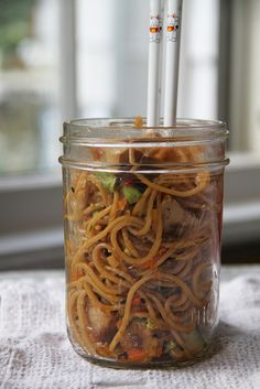 Jar Lunch: Sesame Noodle Salad with Ginger Tofu Cubes ++++With rice noodles or yam noodles for a GF version++