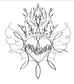 black ink only  Sacred Heart calligraphic flourish tattoo design by Cristie Henry