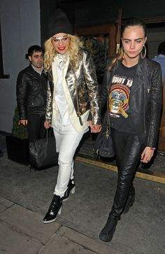 Rita Ora and Cara Delevingne seen leaving in the early hours of the morning from a party held at the trendy Groucho Club in London