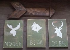 Rustic nursery decor, moose, bear , dear, Reclaimed Wood paintings for a child's bedroom. Log cabin, rustic.  #rusticdecor#woodsign #handpainted #nurserydecor #nursery #woodland #homedecor #deer #explore #reclaimedwood   https://www.etsy.com/listing/251495756/cyber-monday-sale-woodland-nursery-decor