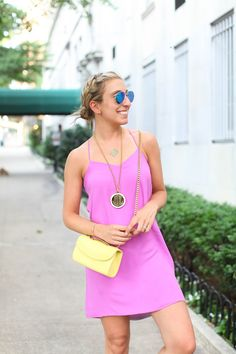 Julia of Lemon Stripes looking gorge in the Cinco Powell Monogram Tag Necklace!
