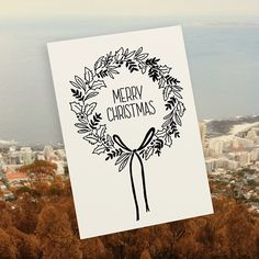 Merry Christmas illustrated card by Tatjana Buisson Design/ Illustration for sale on http://hellopretty.co.za