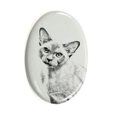 Burma Cat, oval gravestone from ceramic tile with an image of a cat -- Learn more by visiting the image link. (This is an affiliate link and I receive a commission for the sales) Memorial Urns, Cat Memorial, Cat Reading, Kitty Images, Brussels Griffon, Cat Pin, Dog Show, Cat Face, Pet Supplies