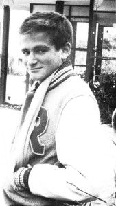 Young Robin Williams- here the troubled actor smiles with his letterman jacket before he ever became famous.