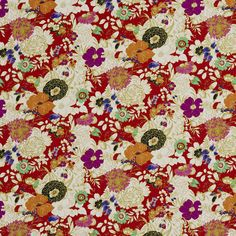 Aqua and Burgundy Floral Linen Upholstery Fabric