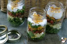 Seven Layer Salad in a Jar :: Recipe on PocketChangeGourmet.com