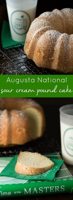 Simple sweet pound cake to southerners is as traditional as Augusta National is to golf.  So It's safe to say, Augusta National Sour Cream Pound Cake is the pinnacle of southern pound cake recipes, with smooth sour cream and sweet buttery flavor. | Family Favorite Desserts