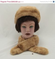 Genuine Fur Hat Collar Neck Stole Vintage  This lovely natural fur set consists of a hat and a neck stole and is a beautiful natural light red color.