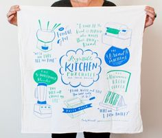 Regrettable Kitchen Purchases Dish Towel - These 30″ x 30″, generously sized dish towels are milled in Michigan and printed with water-based inks in Los Angeles, and are made of 100% flour sack cotton, so they are incredibly soft and absorbent. They're machine washable, and the colors will not run or fade. But you might also just want to hang this on your kitchen wall, which is also totally OK.
