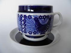 Sinilintu Arabia Coffee Cups, Tea Cups, Kitchenware, Tableware, Marimekko, Bone China, Finland, Blue And White, Koti