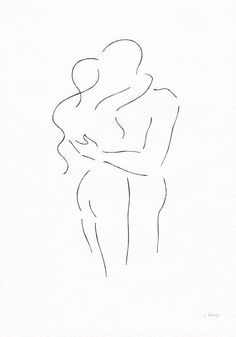 Original artwork. Embrace line drawing. Minimalist kiss sketch by siret roots.