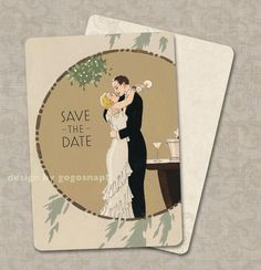Vintage Wedding Invitations Save the Dates Art Deco Wedding-  My Man Godfrey Theme Set of 100. $90.00, via Etsy.