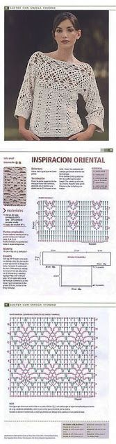 Letras e Artes da Lalá: Blusas de crochê, com receitas. Fotos: google.