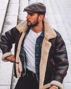 Sheepskin flying jacket mens fashion - www. Stylish Men, Men Casual, Aviator Jackets, Men's Leather Jacket, Leather Jackets, Beard Styles For Men, Menswear, Weather Conditions, Outdoor Jackets