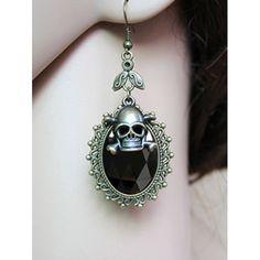 Pair of Faux Crystal Skull Earrings