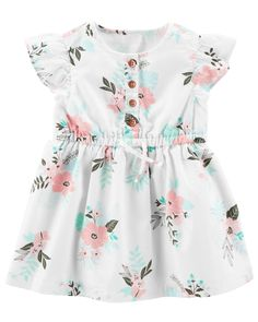 The perfect party dress! Featuring floral detail, flutter sleeves and a separate diaper cover, this soft cotton dress will have all eyes on her.