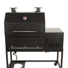 A grill with an offset firebox attached. Modular design allows changes like sliding out the three burner gas system to replace it with a charcoal firebox insert