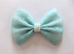 4.5 Blue lace hair bow pastel blue lace bow blue by TwinkleMingle, $4.49