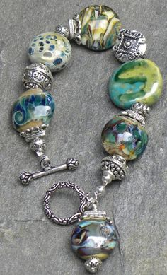 Lampwork bracelet with large accent beads and toggle clasp...
