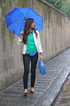 fall layering: green sweater over polka dot button up + neutral blazer