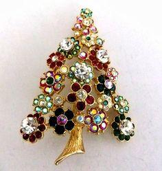 Kirks Folly Swarovski Crystal Christmas Tree Brooch Pin