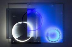 "superposition ""day night"", uv light neon metal plexiglas mirror, 2015"