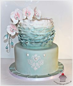 Ruffle Wedding Cake with Orchid | Flickr - Photo Sharing!