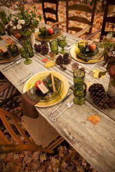 Outdoor Dekoration-Tisch Echtholz-Grün Gläser-Fest Schmuck zum selbermachen