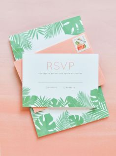 Tropical Leaf Wedding Invitations by Lauren Chism Fine Papers / Oh So Beautiful Paper