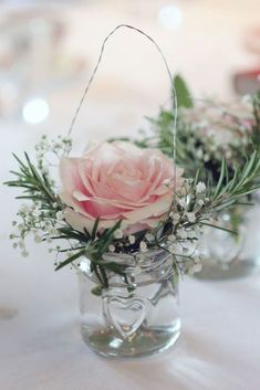 Wedding Table Centerpieces, Flower Centerpieces, Wedding Decorations, Centerpiece Ideas, Pink Table Decorations, Jam Jar Flowers, Table Flowers, Silk Flowers, Floral Wedding