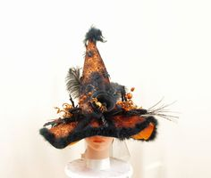 Black and Orange Witch Hat * Wicked Witch * Halloween Costume * Halloween Decoration * Wicca Hat * Halloween Wedding * Witch Decor