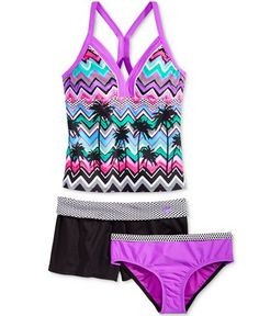 88c6be88b2 ZeroXposur Girls  3-Piece Tankini  amp  Shorts Set - Swimwear - Kids  amp