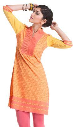 Yellow Cotton Kurti with Pink Embroidery | Naari
