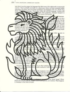 Leo Lion Zodiac Horoscope Symbol on a vintage book page or in color.  $6.00